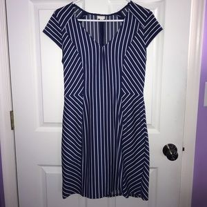 Blue and White Striped Merona Form Fitting Dress